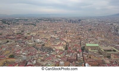 Aerial view of Naples, video shot on a drone. Panoramic view of the city.