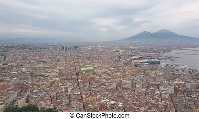 Aerial view of Naples, video shot on a drone. Panoramic view of the city. Flight of a drone over Naples overlooking the bay and Mount Vesuvius.