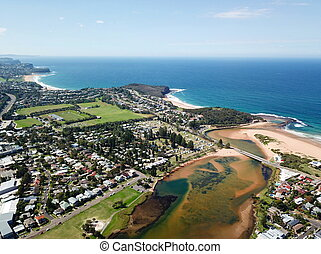 Aerial view of Narrabeen Lagoon and Northern beaches