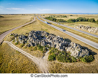 aerial view of Natural Fort in Colorado - aerial view of ...
