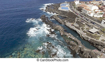 Aerial view of natural pools along the ocean