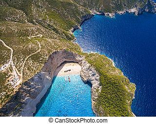 Aerial view of Navagio beach Shipwreck in Zakynthos (Zante)...