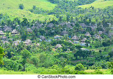 Aerial view of Navala village in the Ba Highlands Fiji