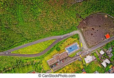 Aerial View Of Neighborhood In Banos, Ecuador