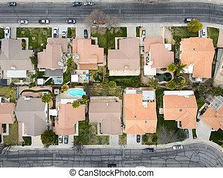 Aerial view of neighborhood in Hemet city in the San Jacinto Valley in Riverside County, California