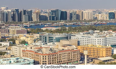 Aerial view of neighbourhood Deira with typical buildings...