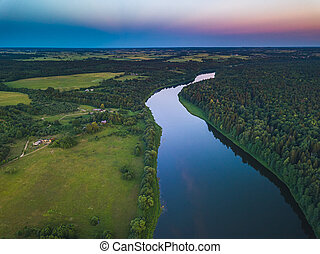 Aerial view of Nemunas river in Lithuania