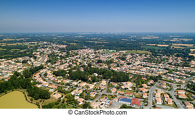 Aerial view of Nesmy city in Vendee
