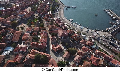 Aerial view of Nessebar, ancient city on the Black Sea coast...