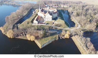 Aerial view of famous medieval Nesvish Castle - historical heritage of Belarus