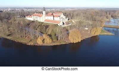Panoramic view of historical Nesvizh Castle in Minsk region, Belarus
