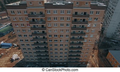Aerial view of new block of flats built in suburbs, Russia -...