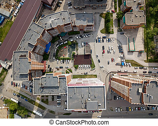 Aerial view of new buildings in semicircle shape in the city