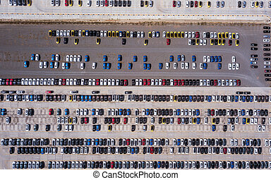 aerial view of new cars parking for import and export