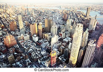 New York City Skyline With Urban Sky Scrapers - Aerial View ...