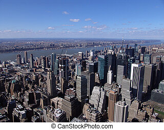New York City - Aerial view of New York City skyscrapers and...