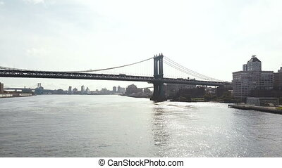 Aerial view of New York in America. Drone flying over East river near the Manhattan bridge, view of Brooklyn district.