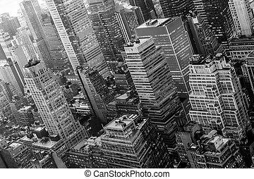 Aerial view of New York skyline with Manhattan midtown urban skyscrapers, New York City, USA.