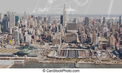 Aerial view of New York with data connections