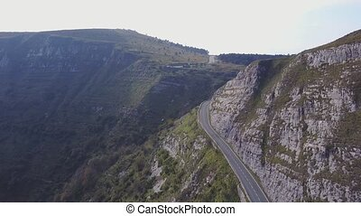 Aerial view of nice road in the mountains, Spain - Road...
