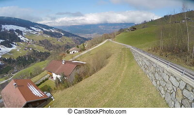 """""""Aerial view of nice village in Austrian Alps, beautiful green landscape, tourism"""""""