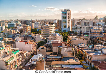 Aerial view of Nicosia city, Cyprus.