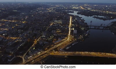 Aerial view of night city Kiev (Kyiv), Ukraine.