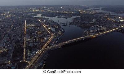 Aerial view of night city Kiev (Kyiv), Ukraine.