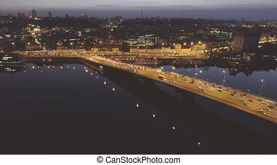 Aerial view of night city Kyiv, Ukraine, with car traffic.