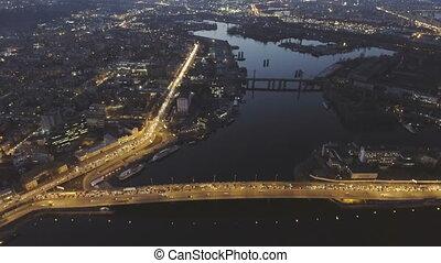 Aerial view of night city Kyiv, Ukraine, with car traffic.