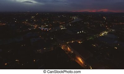 aerial view of Night city, Uzhgorod, Ukraine