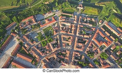Aerial view of nine-sided town wall or star fort of Palmanova, Italy