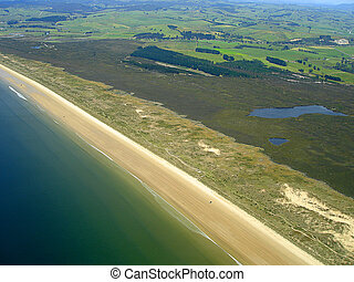 Aerial View of Ninety Mile Beach, Northland, New Zealand