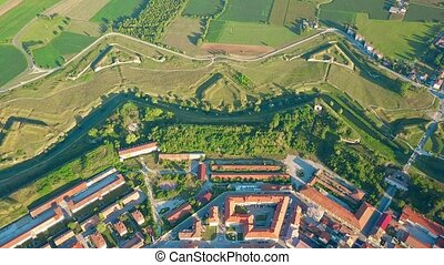 Aerial view of nonagon town wall or star fort of Palmanova, Italy