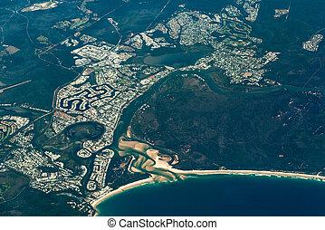Aerial view of Noosa Heads. Sunshine Coast, Australia -...