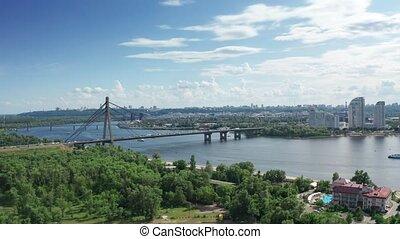 Aerial view of North Bridge in Kyiv Ukraine at sunny summer...