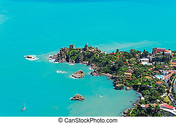 Aerial view of north Sicily coast from Cefalu