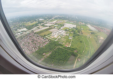 Aerial View Of North Thailand Area As Seen From The Airplane On Sunny Day.