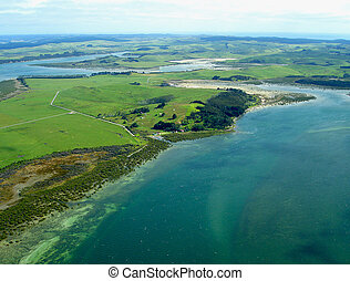 Aerial View of Northland Coastline, New Zealand