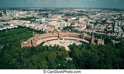 Aerial view of notable landmarks of Seville - Plaza de ...