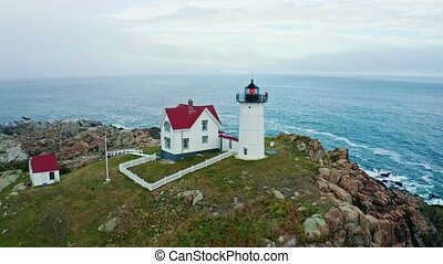 Aerial view of Nubble lighthouse in York, ME