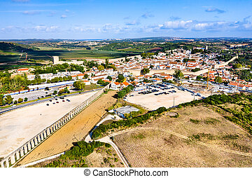 Aerial view of Obidos with the Usseira Aqueduct in Portugal