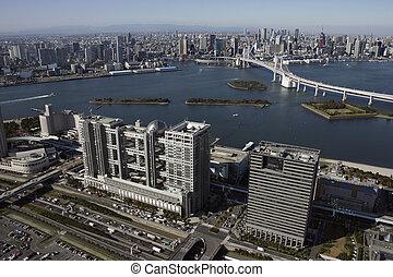 Aerial view of Odaiba areas
