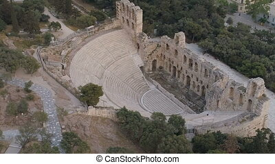 Aerial view of Odeon of Herodes Atticus and Acropolis of...