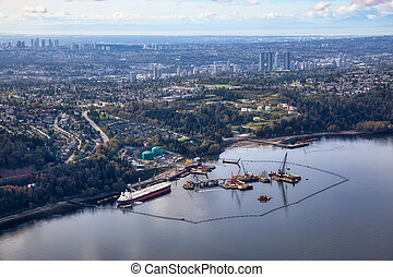 Aerial view of Oil Refinery Industry in Port Moody