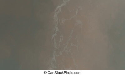 Aerial view of oil spill from an industrial boat - Aerial...