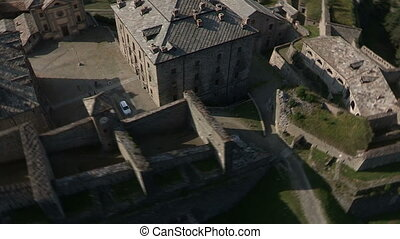 Aerial view of old castle