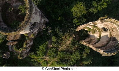 Aerial view of old castle, two towers and forest around 4K