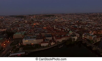Aerial view of old center of Prague, Czech Republic