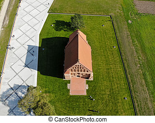 Aerial view of the old church of st. John the baptist in Zapyskis, Kaunas district, Lithuania